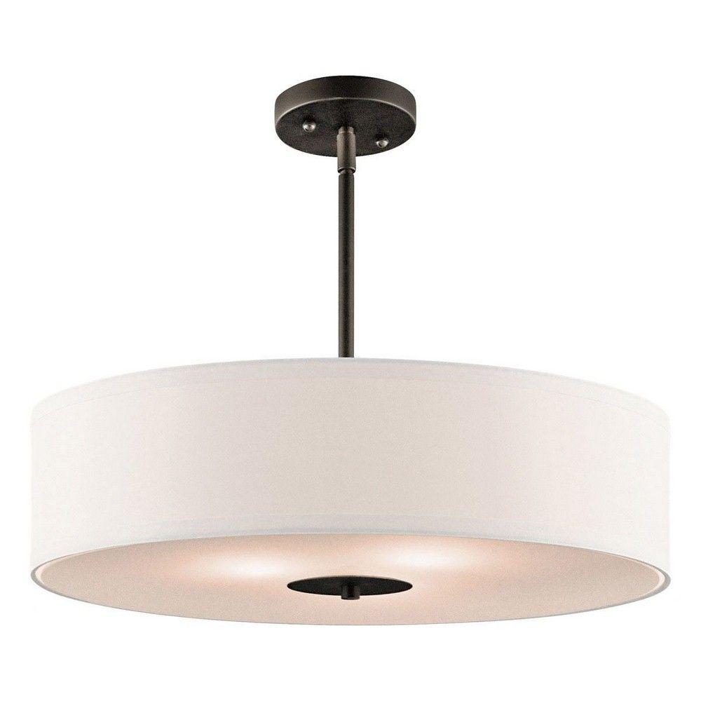 Kichlerlighting Three Light Inverted Pendant Drum Pendant Lighting Semi Flush Lighting Drum Pendant
