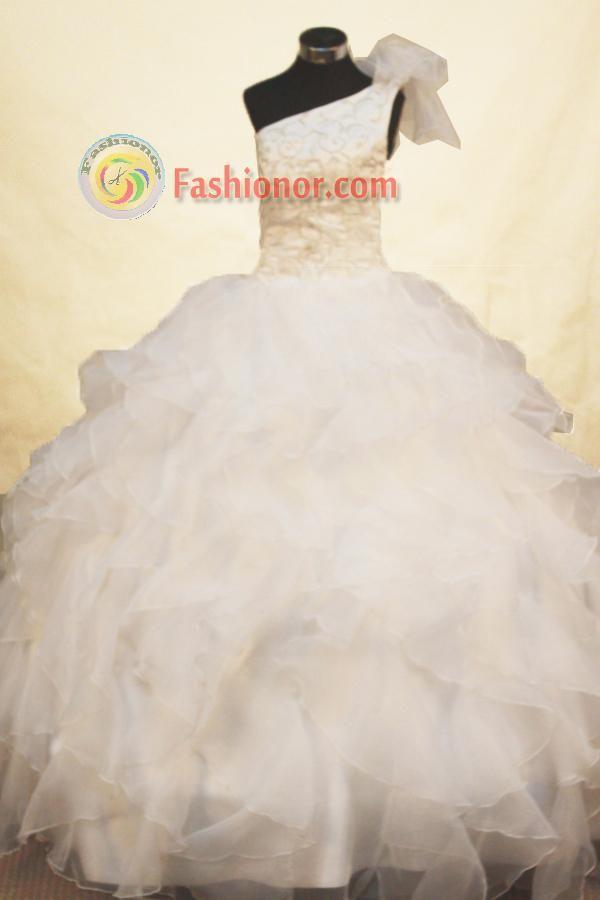 One-shoulder-Floor-length-Flower-Girl-Dresses