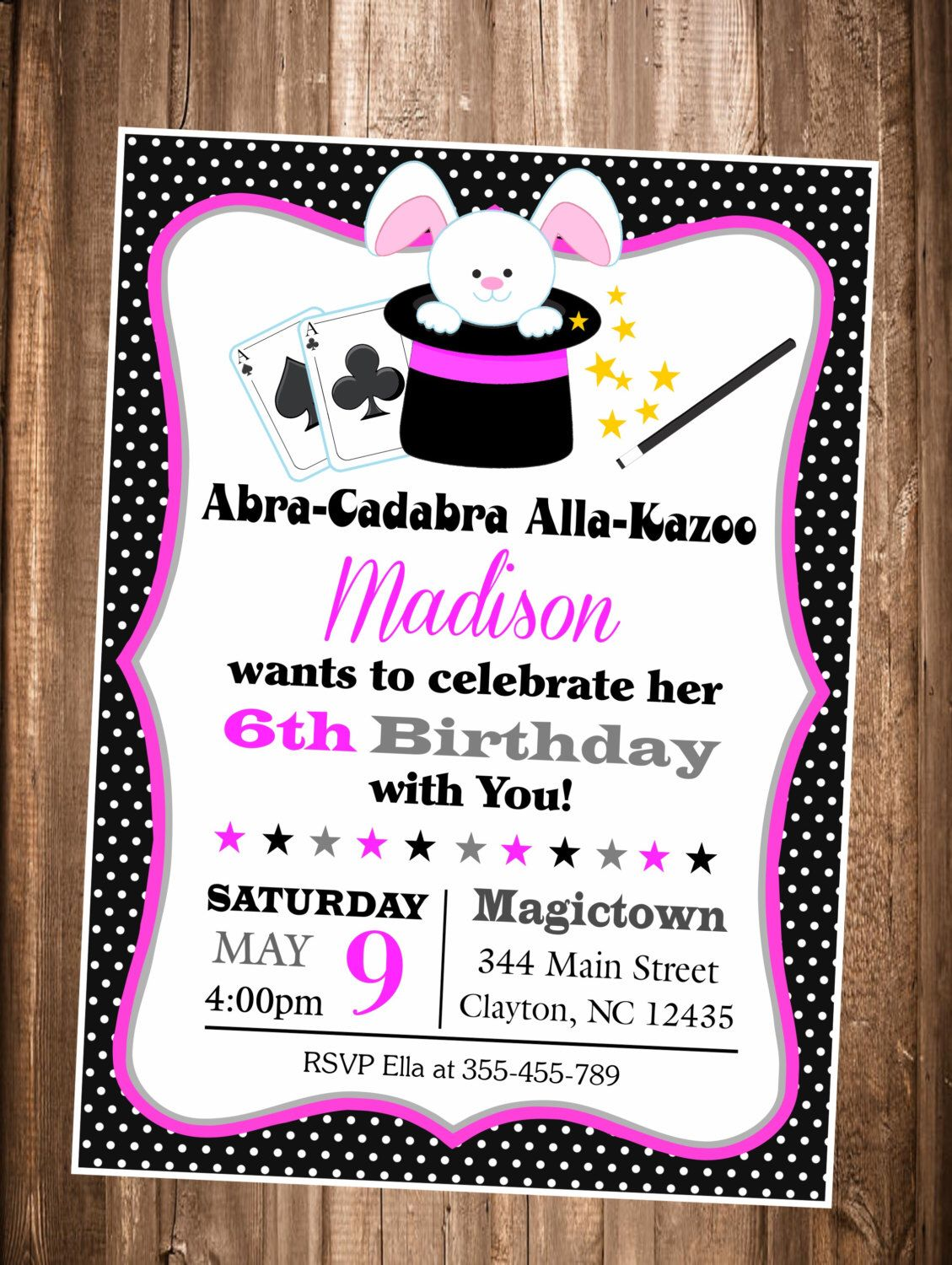 Magic Show invitation, Girls Magic Show Birthday invitation, Magic ...
