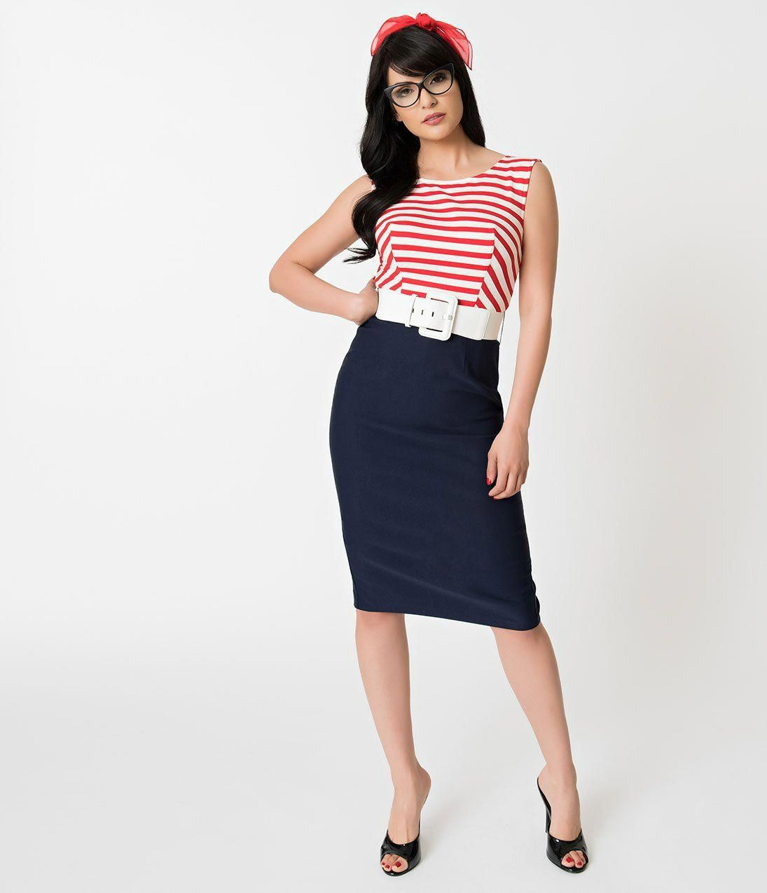 c3b92cac53fa Barbie x Unique Vintage Cruise Stripes Nautical Pencil Dress   WomenDressesAmazon