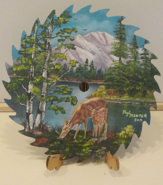 Doe and Fawn Painted Saw Blade  $75
