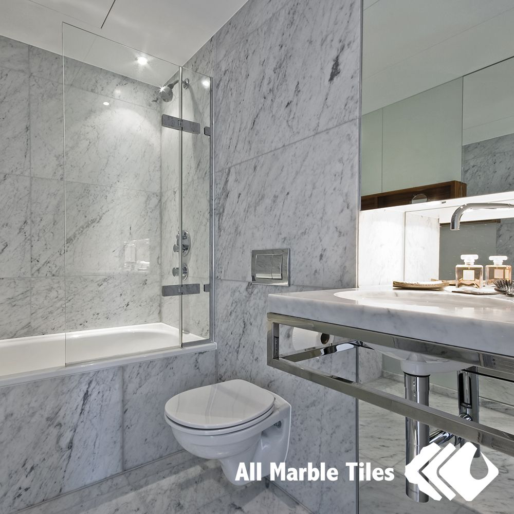 Bathroom Design With Bianco Carrara Marble Tile From AllMarbleTiles