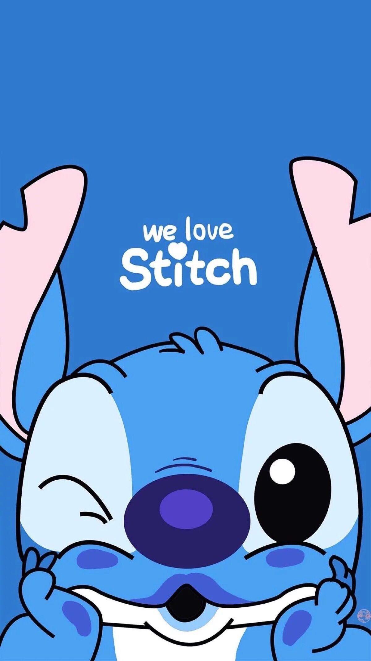 We Love Stitch Kartun Gambar Lucu Wallpaper Iphone