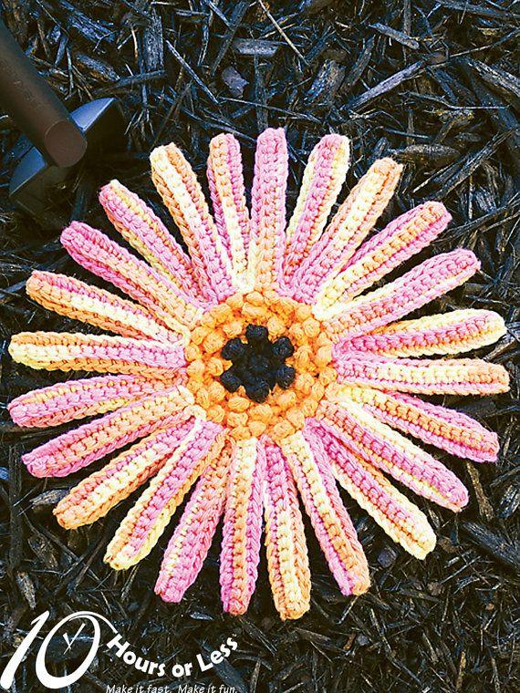 DELIGHTFUL DAISY Crochet Dishcloth Pattern by 10HoursorLess, $2.95