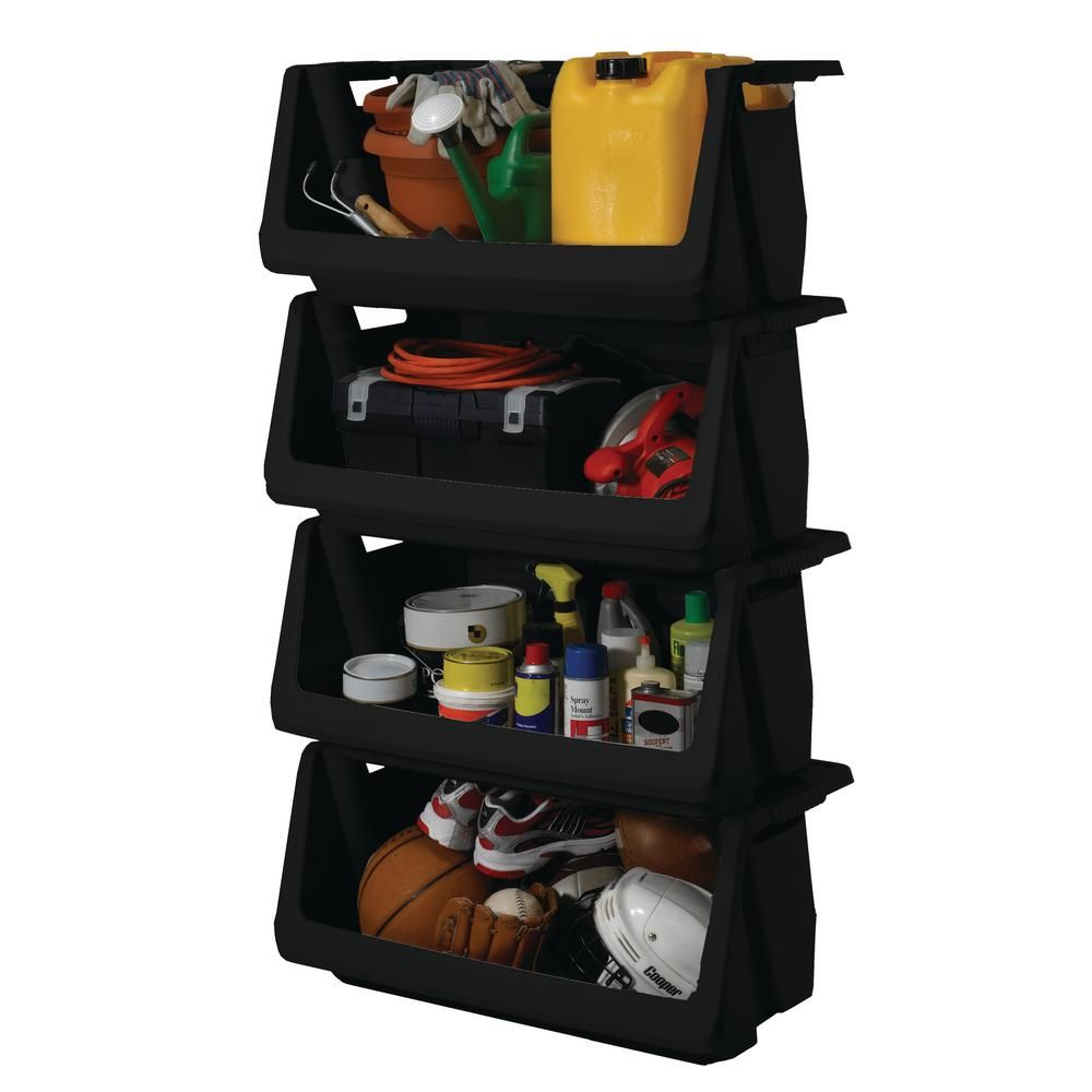 Husky Stackable Storage Bin in Black-232387 - The Home ...