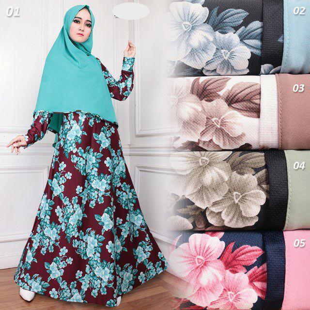 Model Baju Gamis Syar I Misby Motif Bunga G1267 Trendy Edisi Lebaran