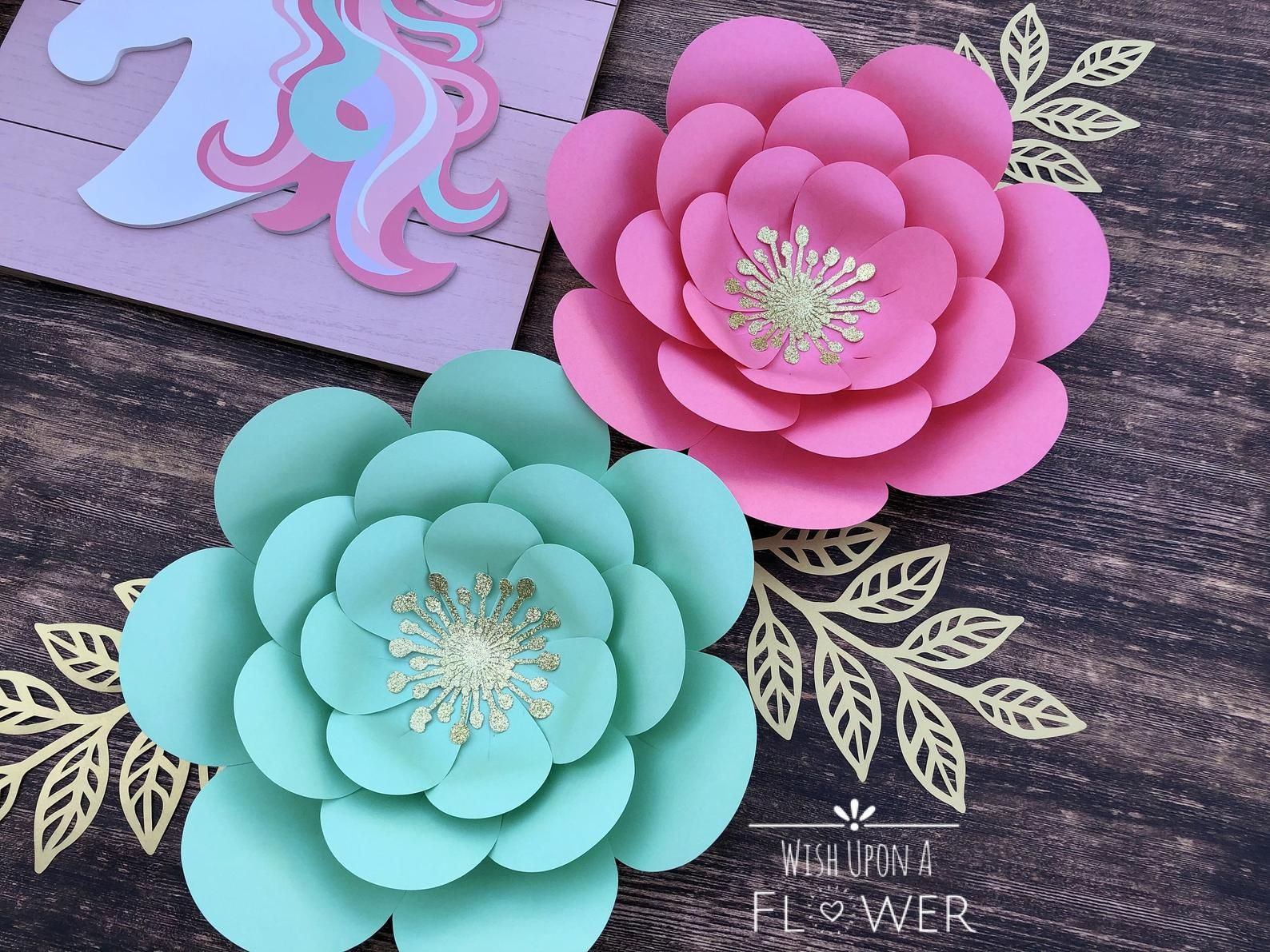 Paper Flowers, Paper Flower Template, Unicorn SVG, Unicorn Flower Template, Paper Flower Wall Decor, Paper Flower SVG, Paper Flower DIY #bigpaperflowers