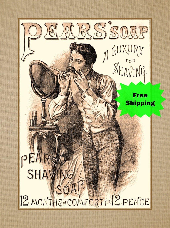 Vintage Pears Shaving Wall Art Husband Mens Birthday Housewarming Gift For Men Shave Soap Ad Wall Decor Bath Poster 8x10 16x20 Bath Wall Art Shop Wall Art Vintage Shaving