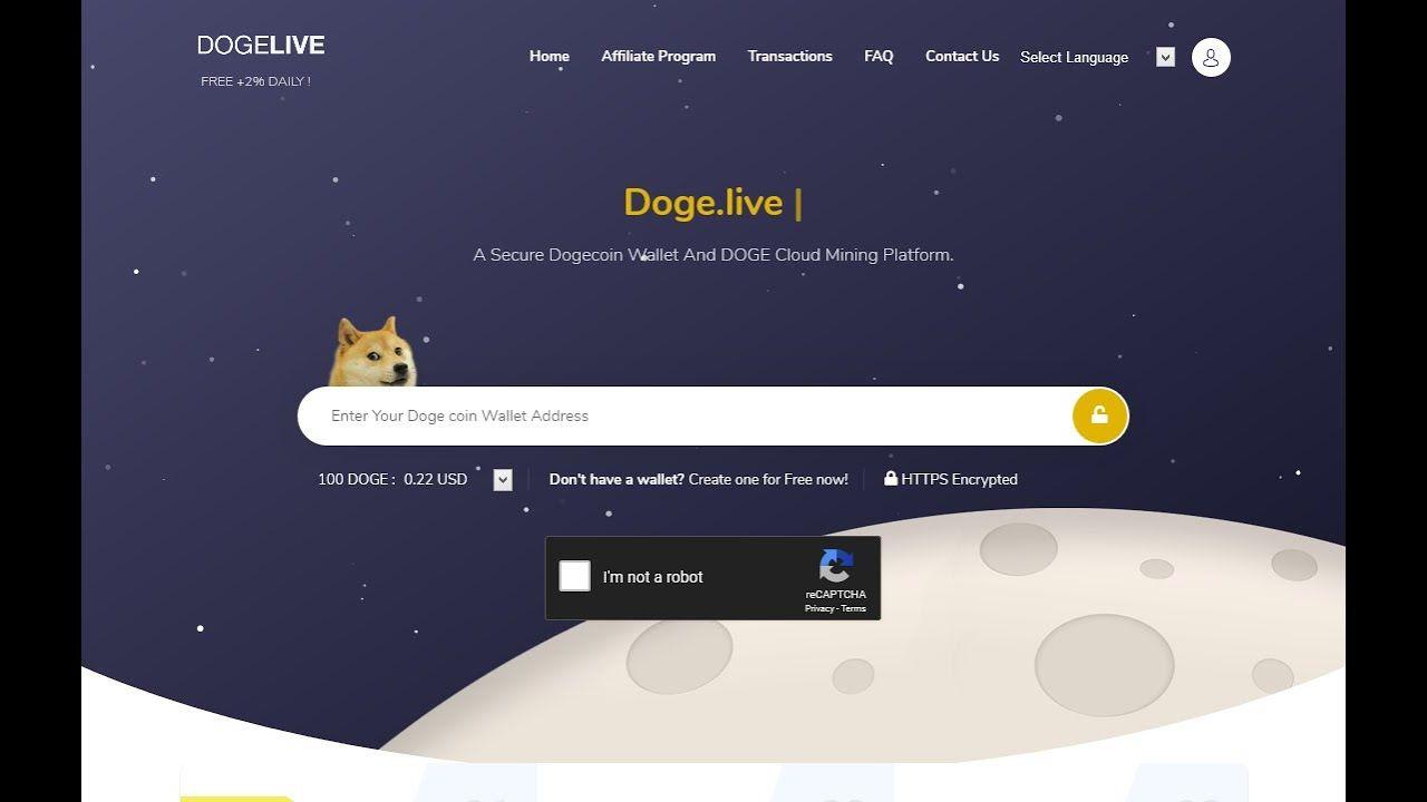Doge New Free Dogecoin Cloud Mining 2019 2020 Ll 1 Dh Signup Bonus Dail Cloud Mining Doge Signup