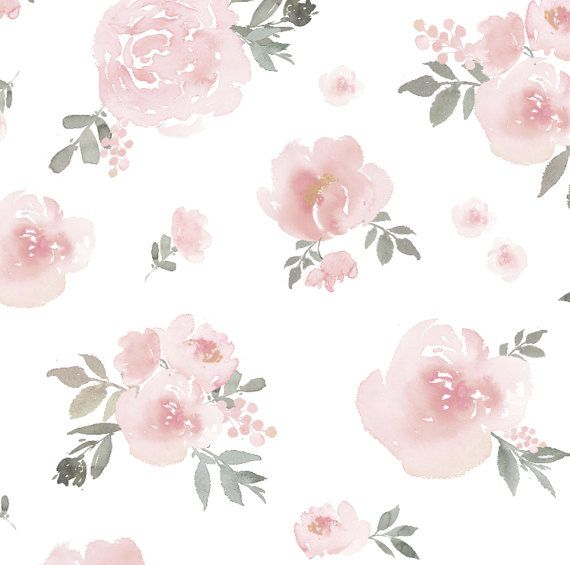 Soft Pink Pastel Floral Wallpaper Mural Traditional Or