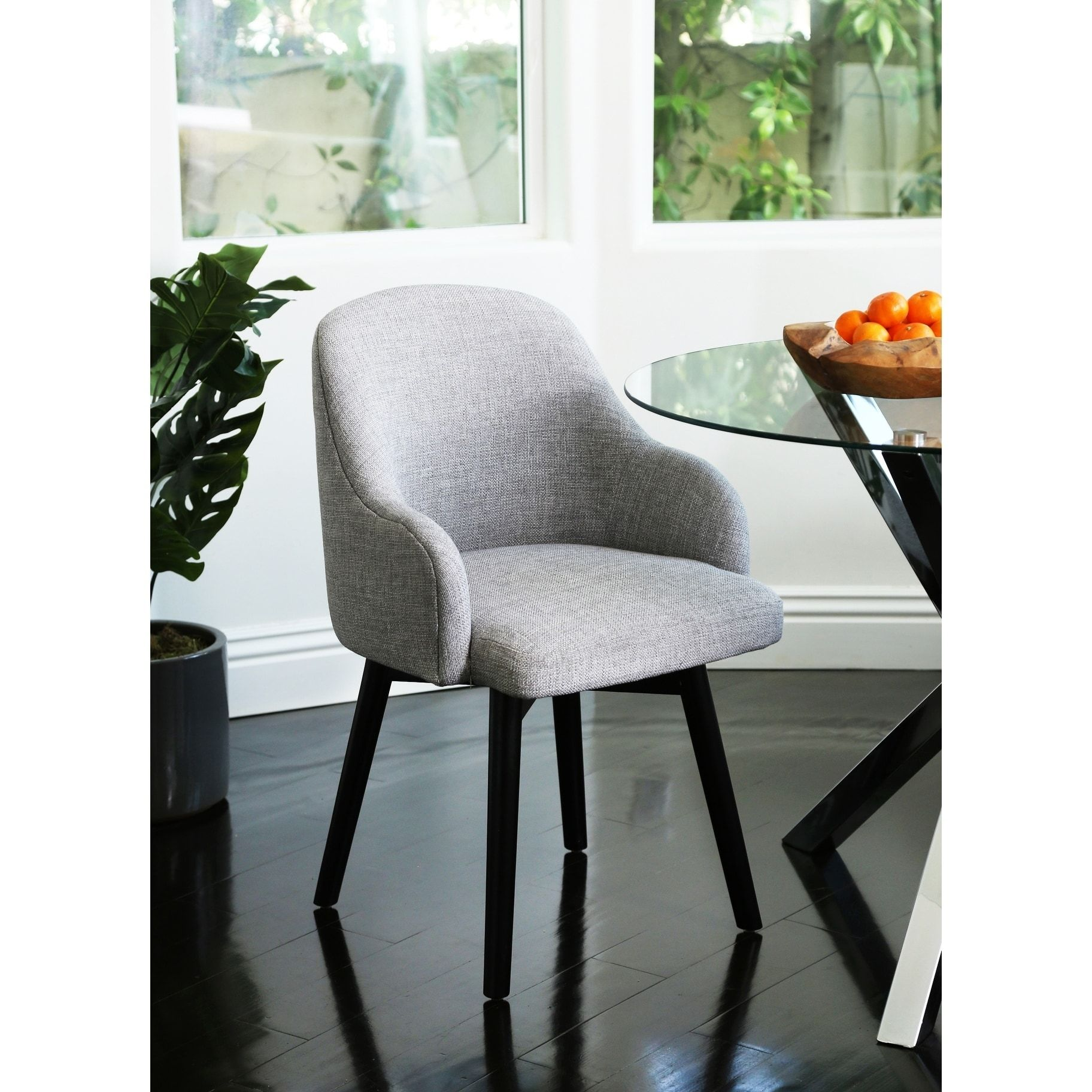 Abbyson Abbott Upholstered Swivel Dining Chair Grey Wood