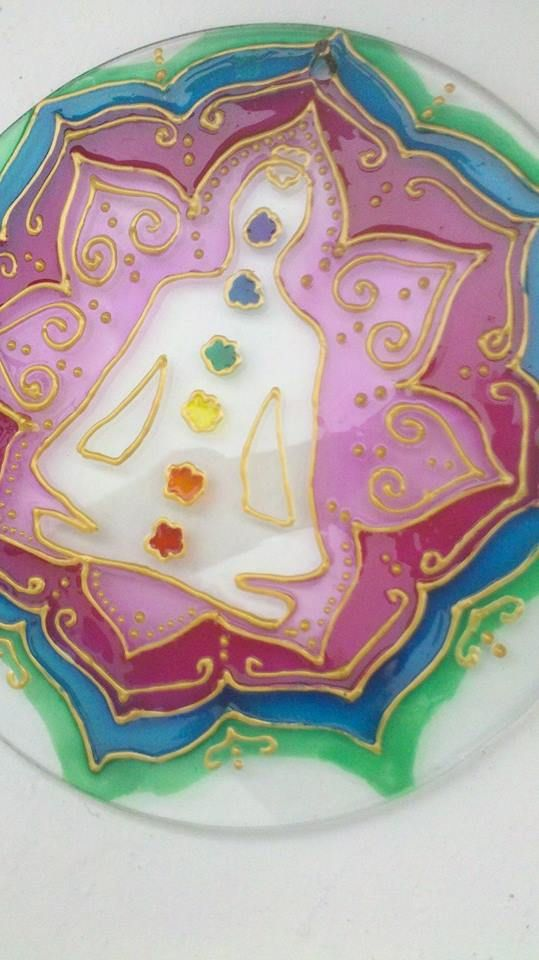 Mandala 7 chakras vidrio 20cm flower
