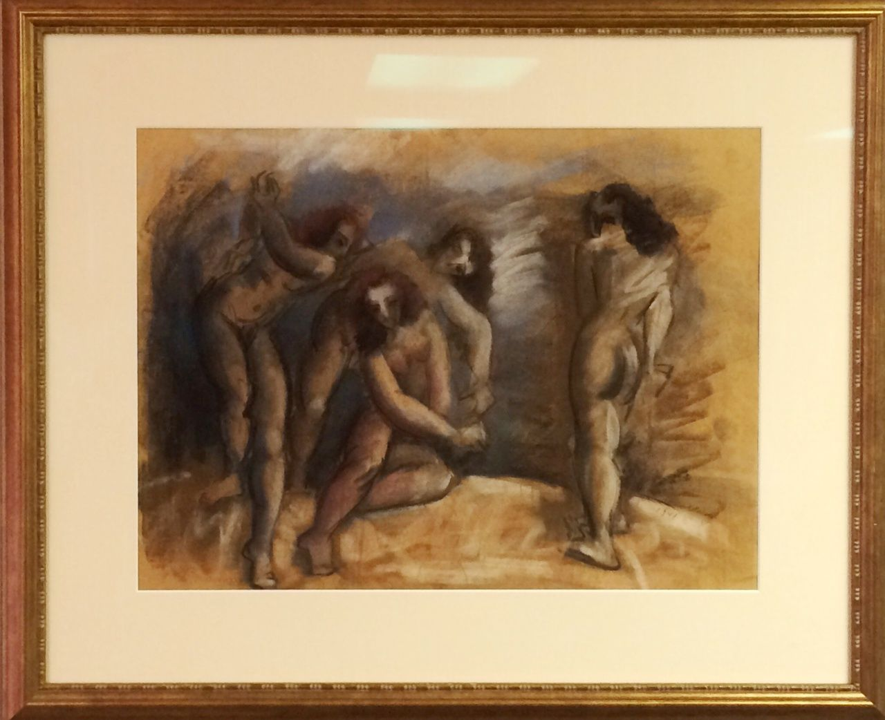 Original Work on Paper, Four Female Nudes, by Hans Gustav Burkhardt (1904-1994). Available for purchase at http://treasuredestates.com/showroom/product/146-work-on-paper-four-female-nudes-by-hans-gustav-burkhardt