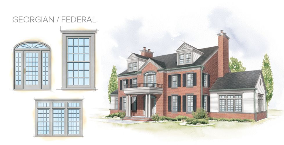 Georgian federal home style window door overview for House window styles pictures