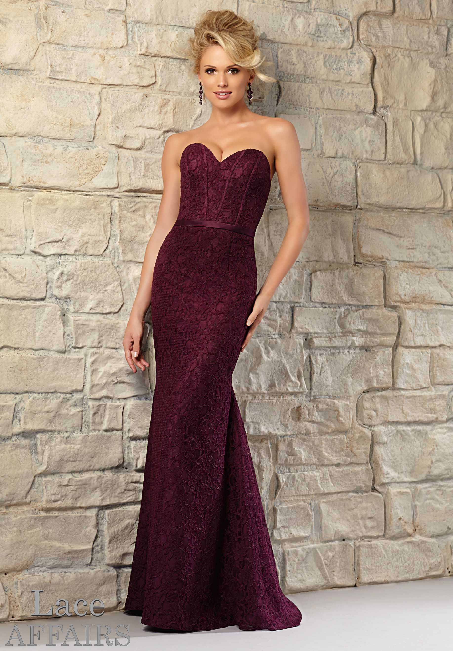 12bc2ec65bf Fashion a ravishing ceremony with this corset-style gown by Mori Lee 721  Bridesmaids. Vertical stays accent the strapless