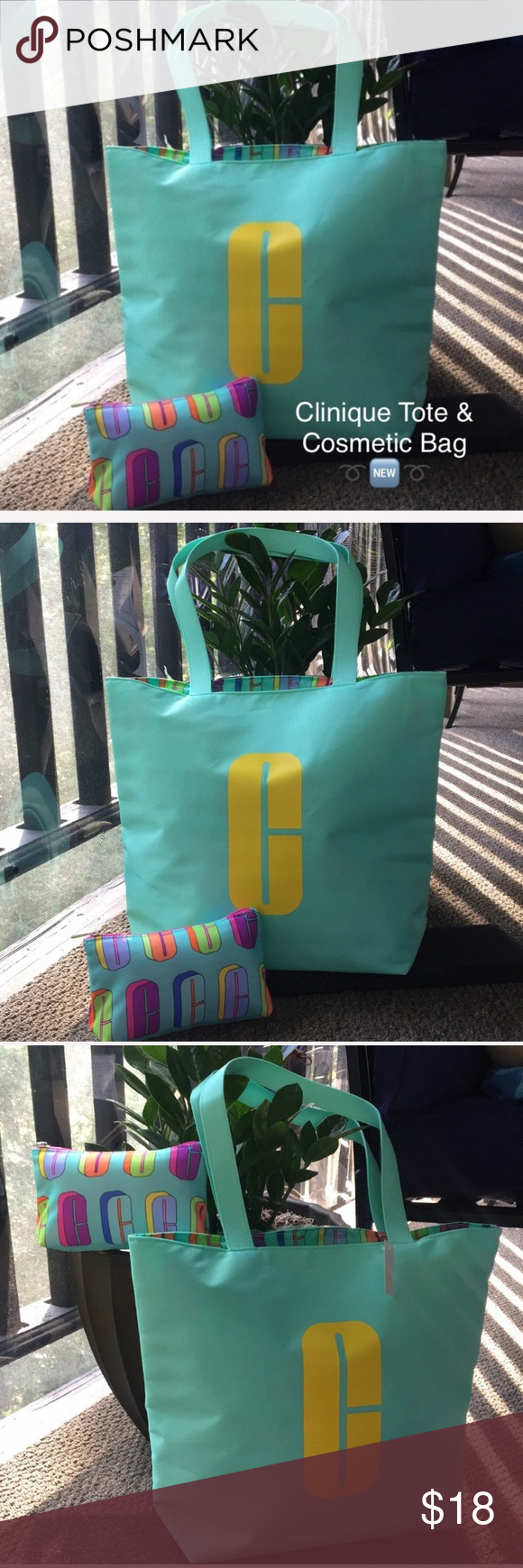 Clinique Tote & Cosmetics Bag Set NWT Bright and cheery