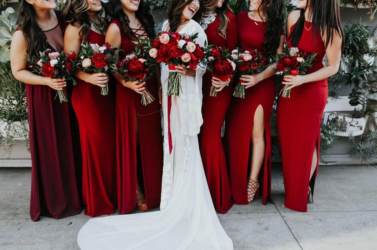 The Bridesmaids Wore Crimson At This Luxe Boho Wedding Red
