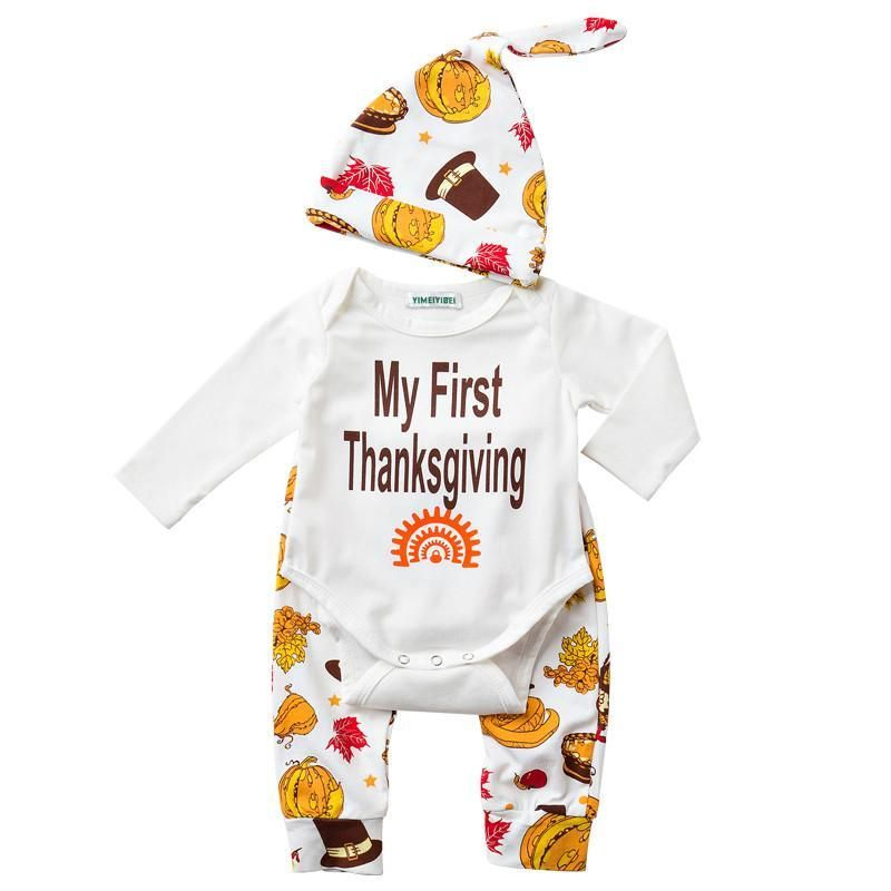 Baby boys my first thanksgiving 3pcs set baby sets