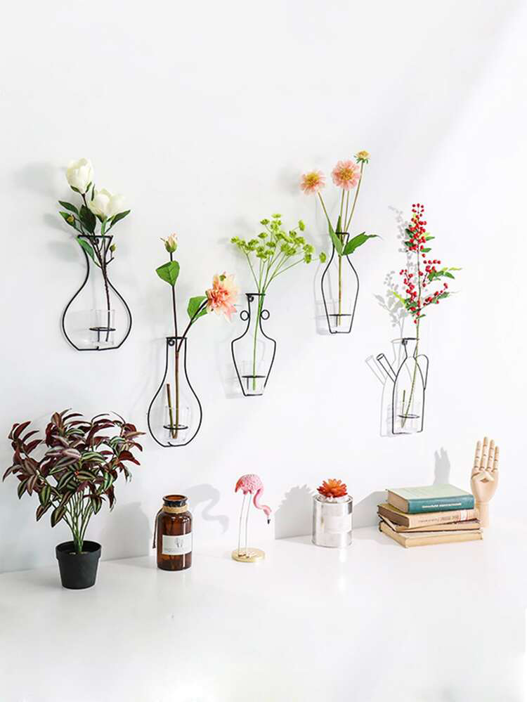 1pc Iron Flower Vase Wall Decor | ROMWE in 2020 | Flower ... on Iron Wall Vases id=34178