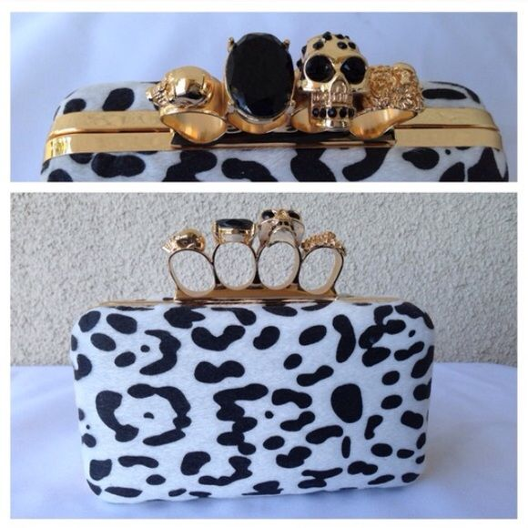 Black & White Print Knuckle Clutch New knuckle clutch with gold accents. Detachable Gold chain shoulder strap. Love Stitch Bags Clutches & Wristlets