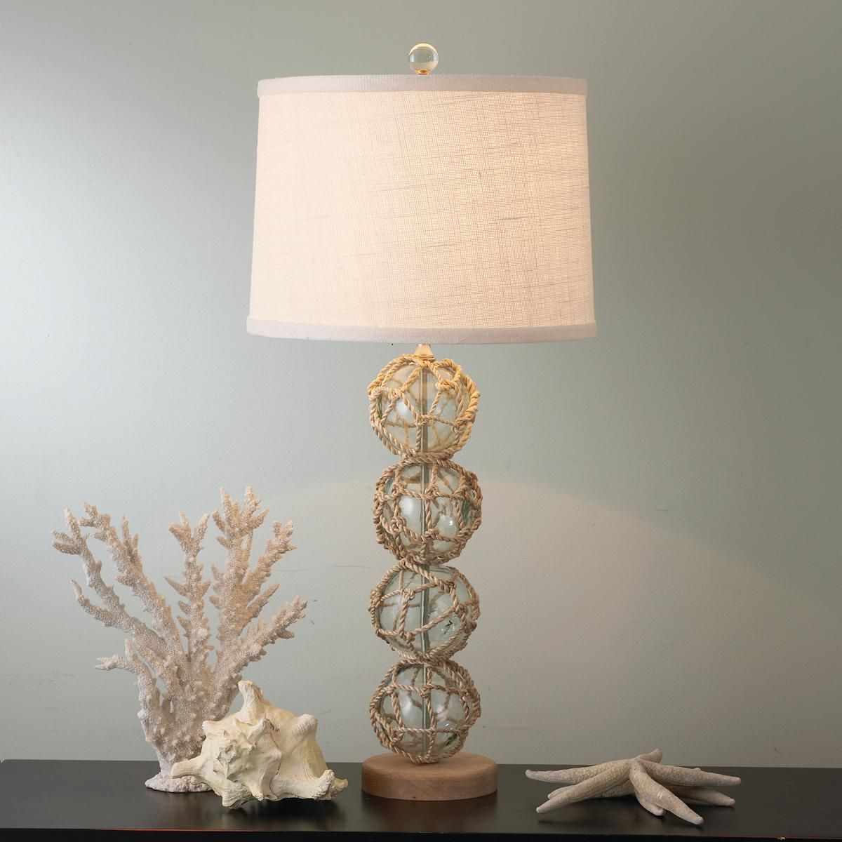 Nautical rope and glass ball table lamp nautical rope glass and nautical rope and glass ball table lamp geotapseo Choice Image