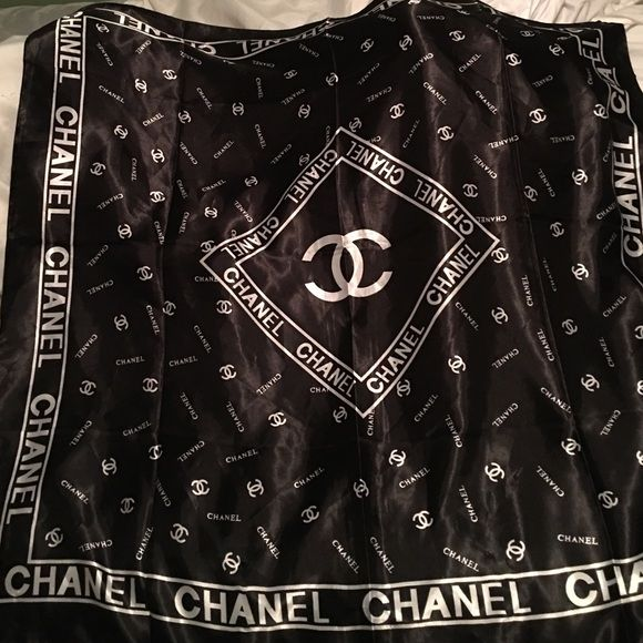 1196f2e3b499 real authentic silk Chanel scarf black white logo Chanel scarf. can be worn  or used on a bag. CHANEL Accessories Scarves Wraps