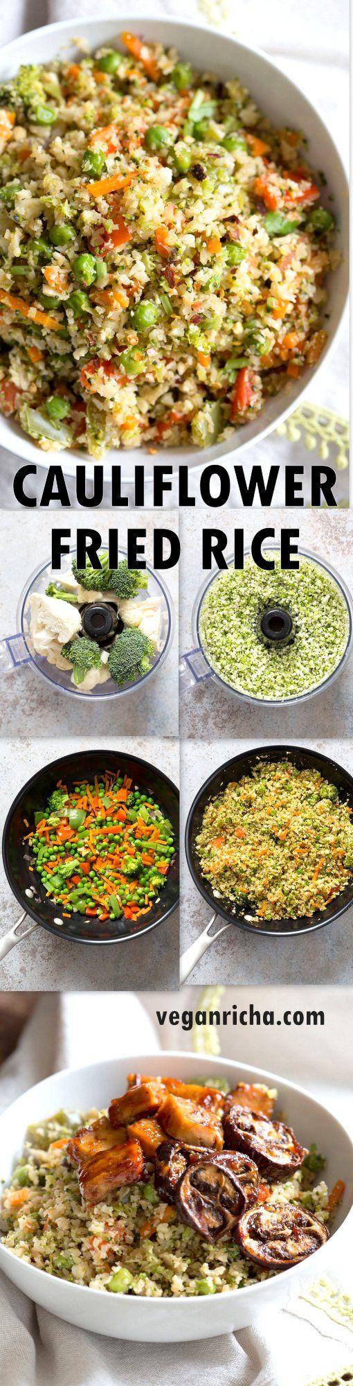 Vegan Cauliflower Fried Rice - 1 Pot Cauliflower Fried Rice. Easy 1 Pot Fried Rice. No grains, low carb. So fluffy and so good. |