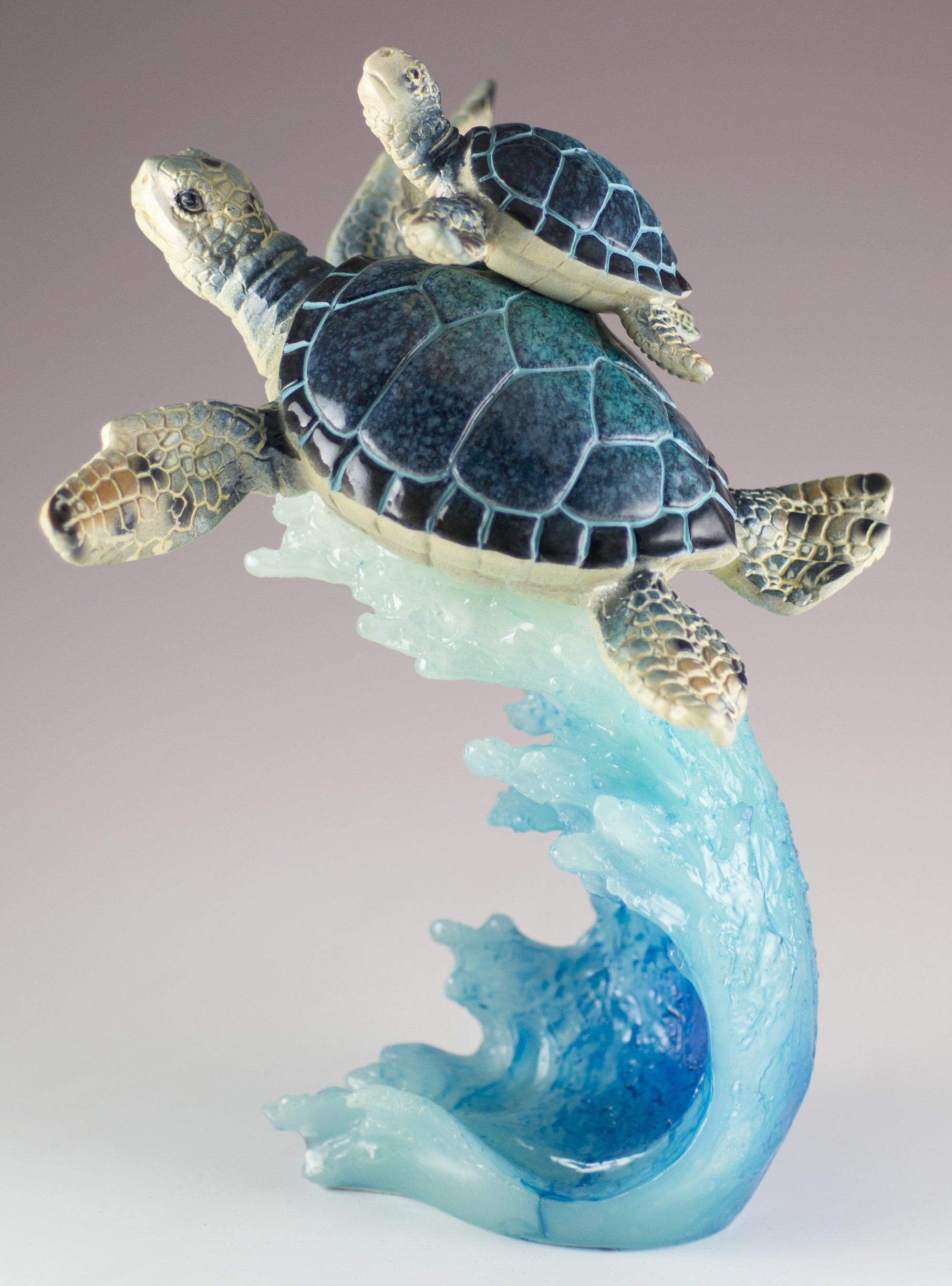 Blue Sea Turtles Swimming On Wave Figurine Statue 8.5