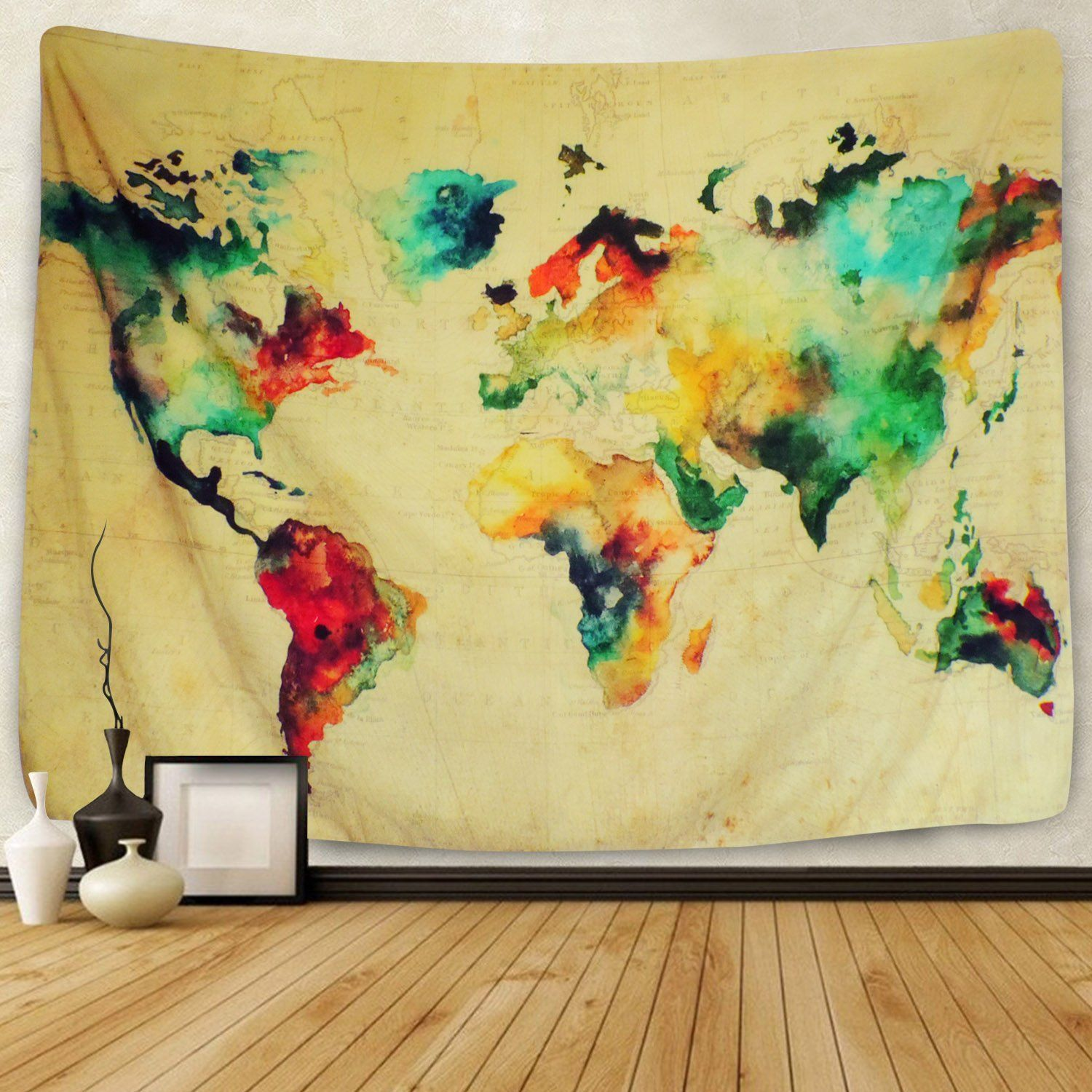 Sunlightfree Colorful Watercolor World Map Tapestry Map Tapestry ...
