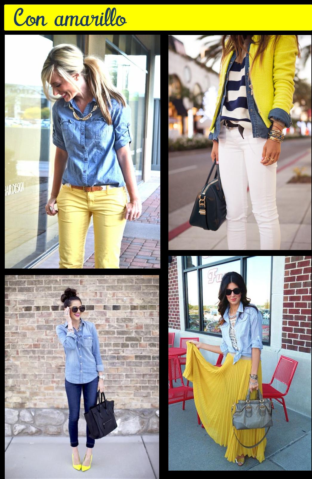 82c1b5fda0 Blusa de mezclilla con amarillo! chambray outfit ideas pinterest ...