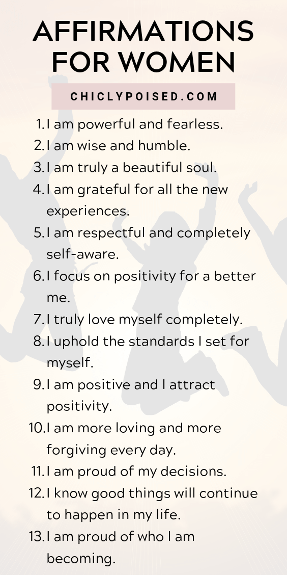 Positive Affirmations List Chiclypoised Positive Affirmations Affirmations Daily Positive Affirmations
