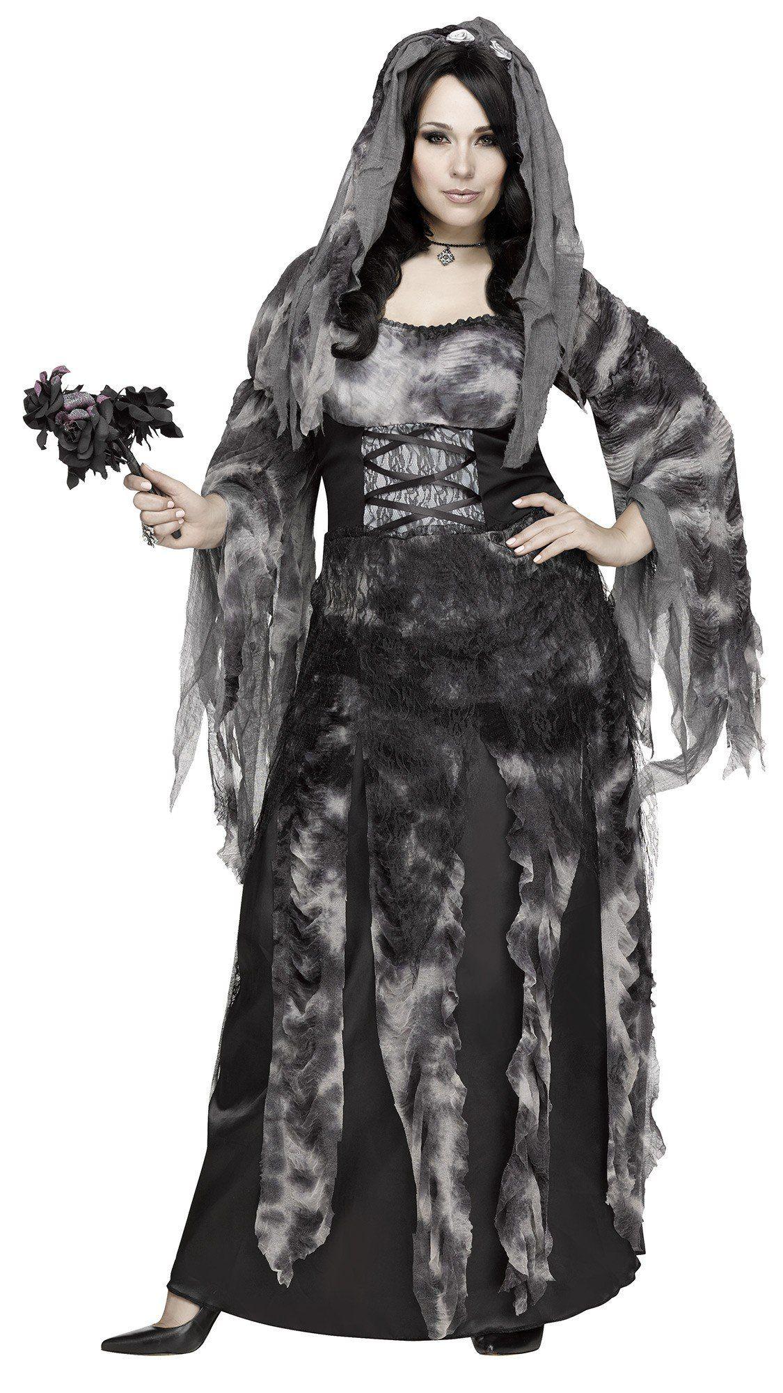 Ladies Zombie Black Widow Bride  Costume Victorian Ladies Halloween Fancy Dress
