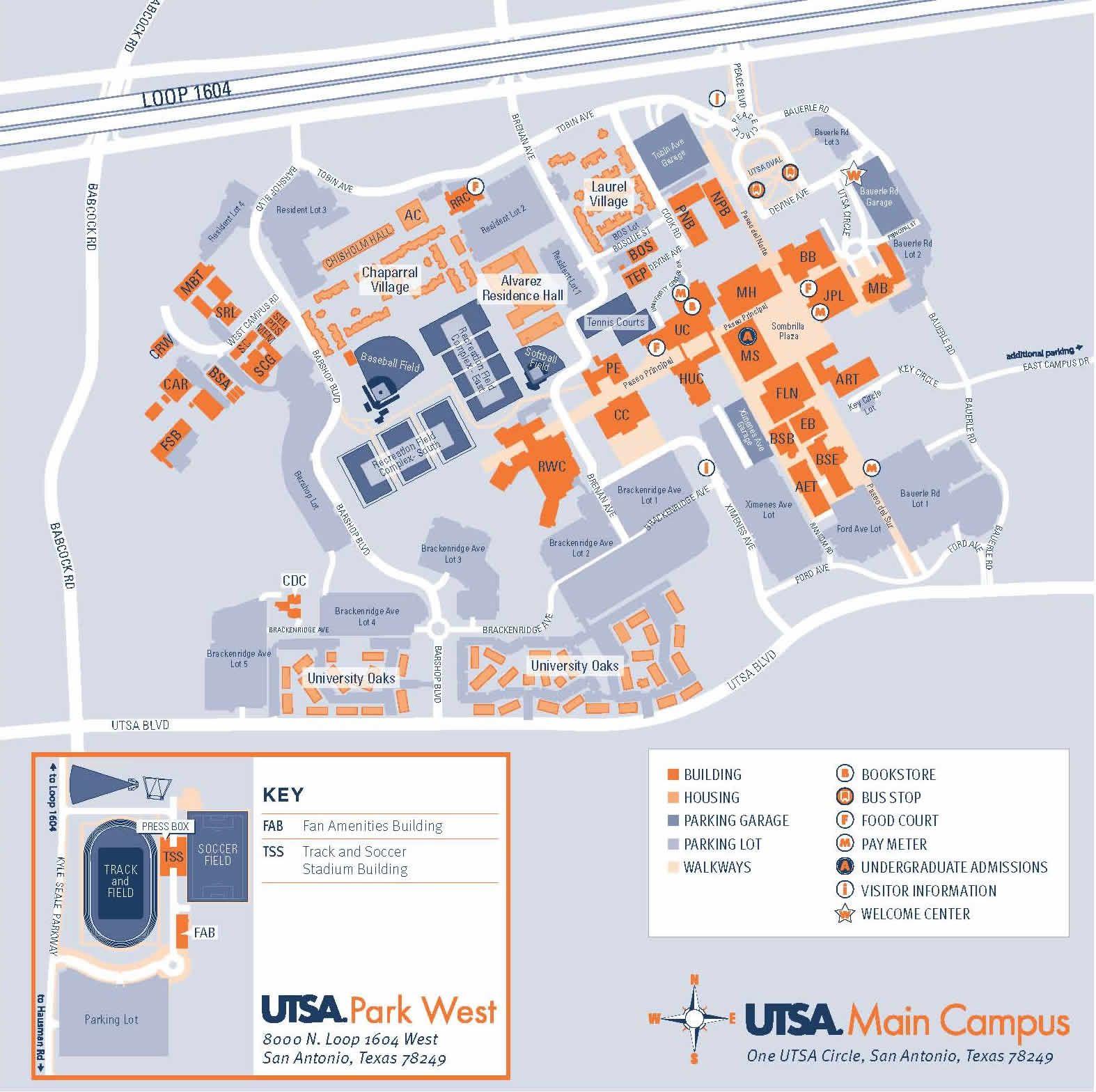 Main Campus Map Utsa University Campus Map Map Design Map