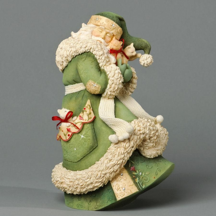Hand Sculpted Christmas Santa Mouse with Toy Bag Figurine in Polymer Clay