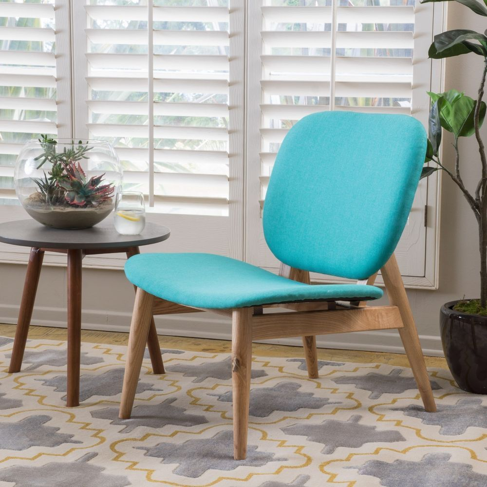 Anso contemporary teal color fabric accent chair