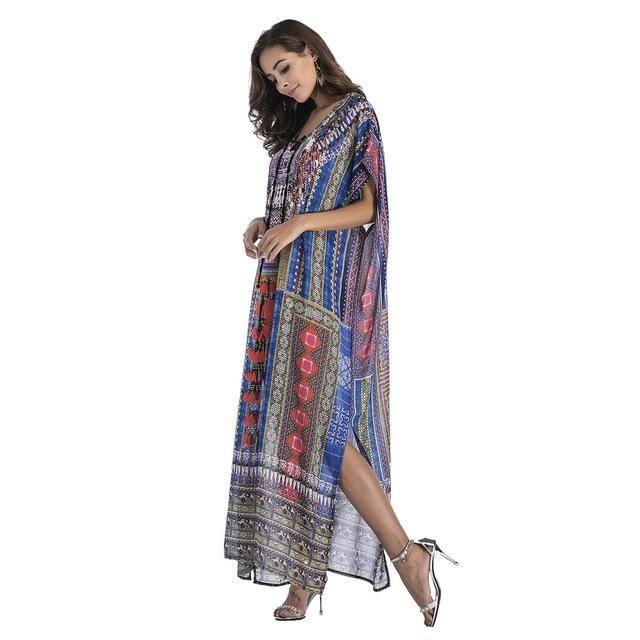 55f795770de Sukibandra Summer Batwing Sleeve Loose Beach Dress for Women Vintage  Chiffon Dresses Printed Boho Bohemian Lace