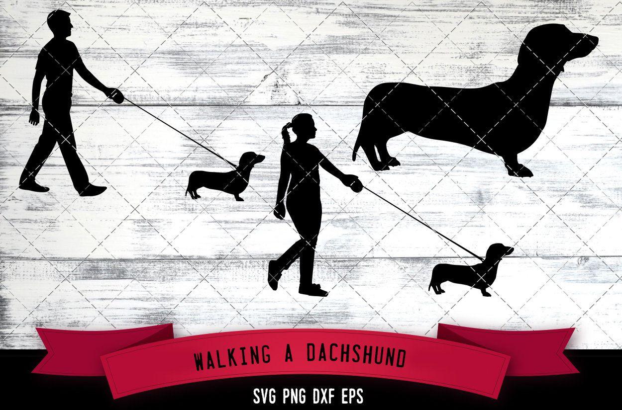 Man Woman Walking A Dachshund Dog Dog Lover Dog Walker Svg Etsy Dog Silhouette Dachshund Dog Dog Lovers