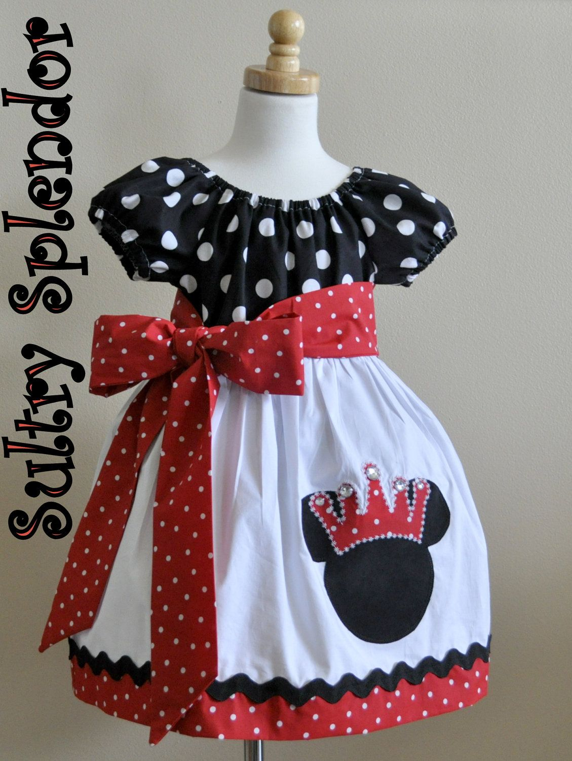Black, White & Red Polka Dots Minnie Mouse Peasant Dress with Applique - On Sale