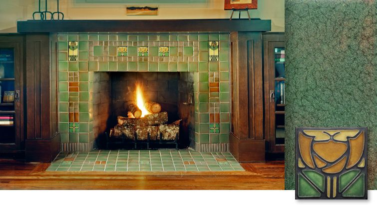 Amazing arts and crafts style tile treatment on a for Arts and crafts fireplace tile