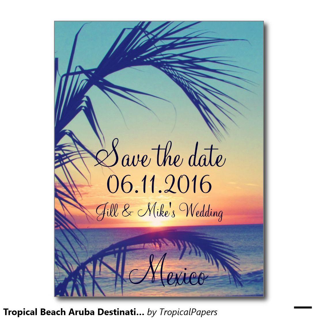Gift Etiquette For Destination Weddings: Tropical Beach Aruba Destination Save The Date