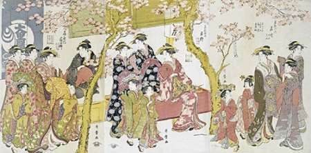 Three Groups of Courtesans With Their Shinzo and Kamuro
