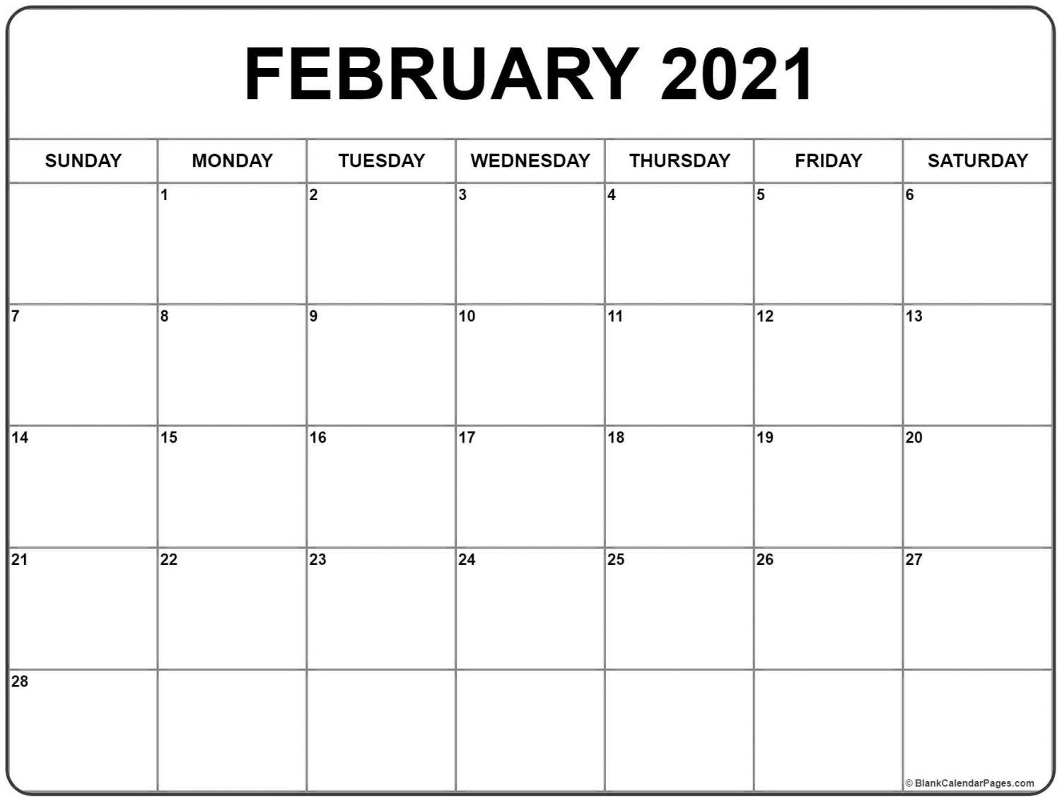 Printable February Calendar 2021 February 2021 Calendar Templates | Calendar printables, Print