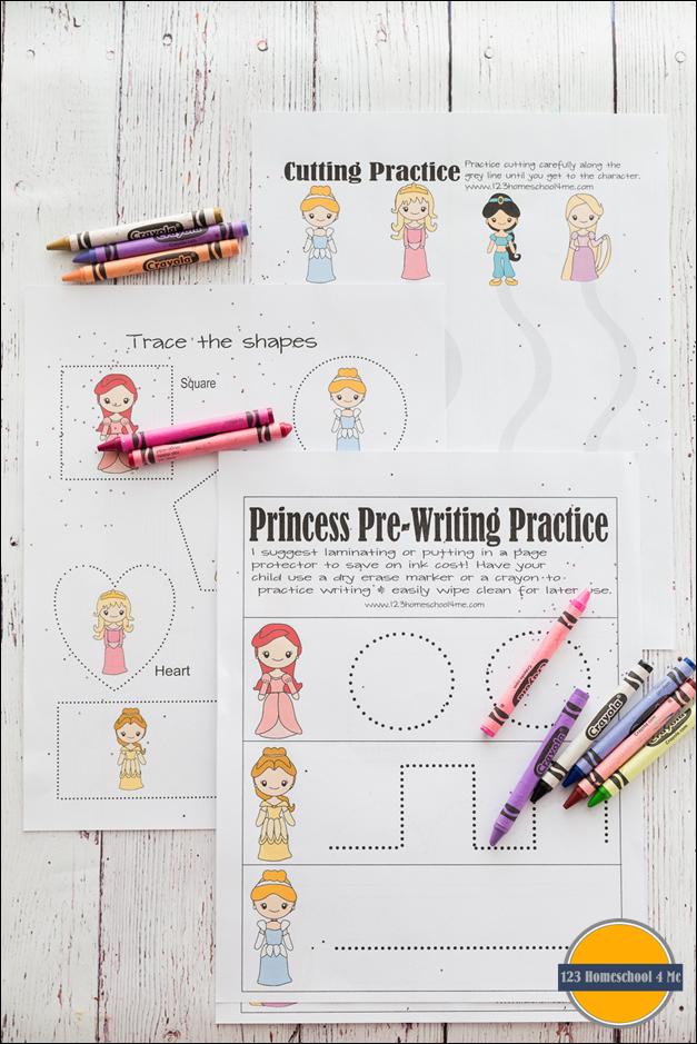 Free Disney Princess Worksheets For Kids Toddler Preschool Prek