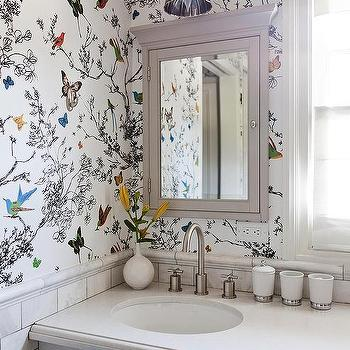 Birds And Butterflies Wallpaper Design Ideas Bathroom