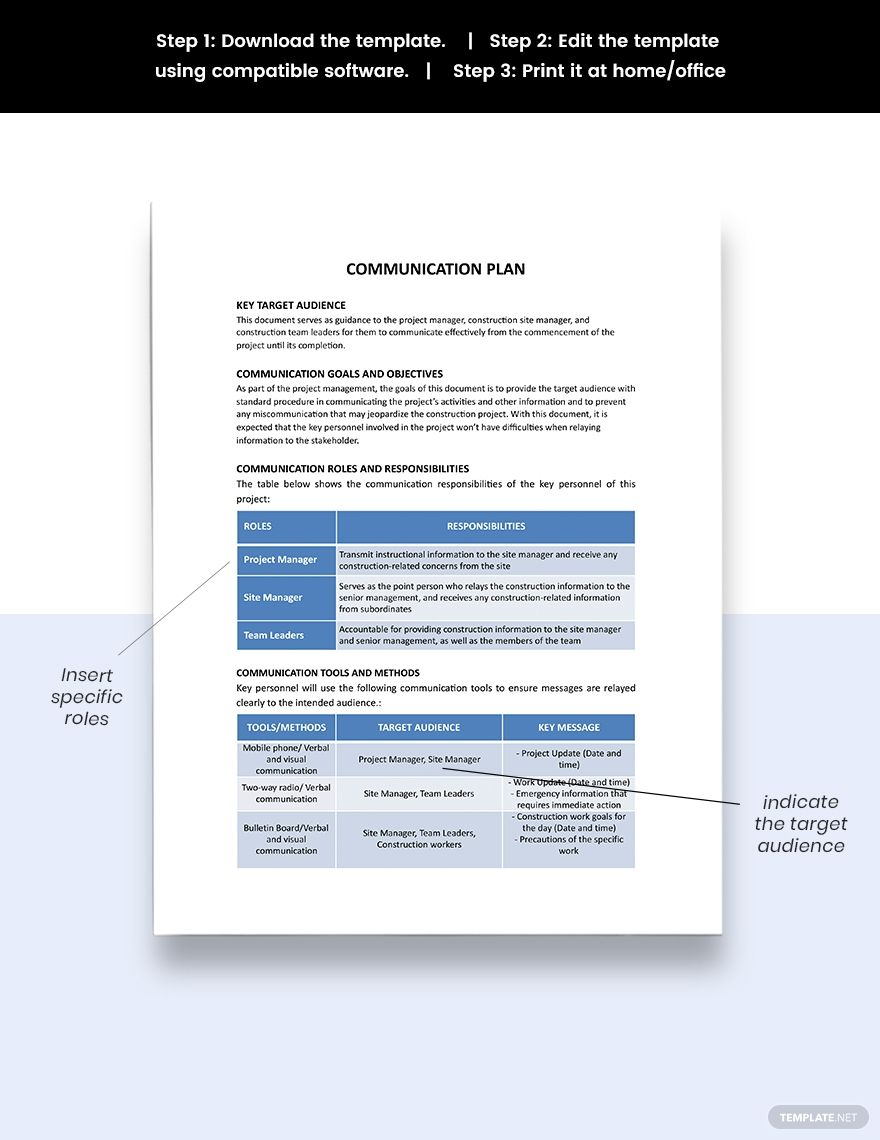 One Page Communication Plan Template in 2020
