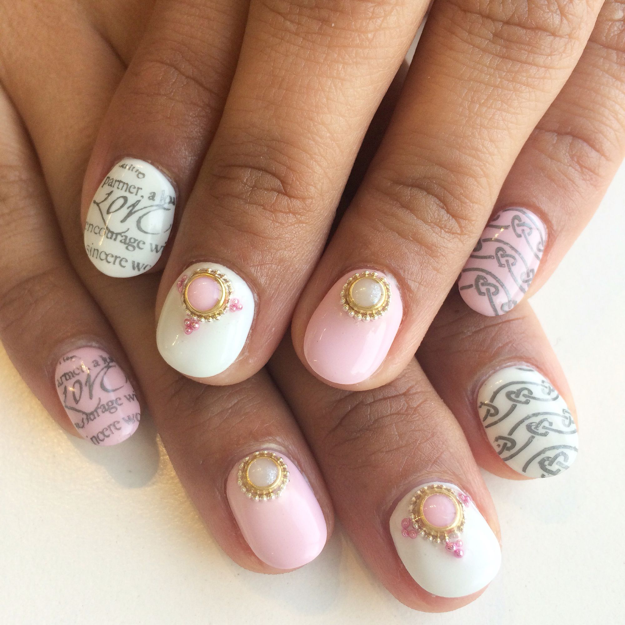 Valentine\'s Day pink & white nail design with stamps, pearls, and ...