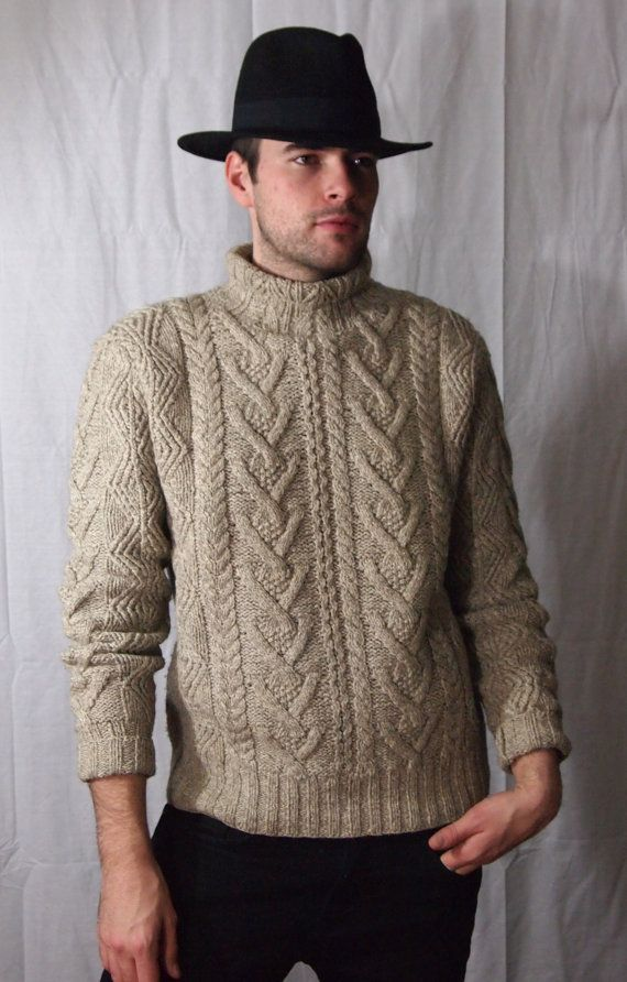 Classic POLO Ralph Lauren 1980s Vintage Aran Cable Knit Fisherman Turtleneck Sweater by TheEyeOfFaithVintage, $250.00