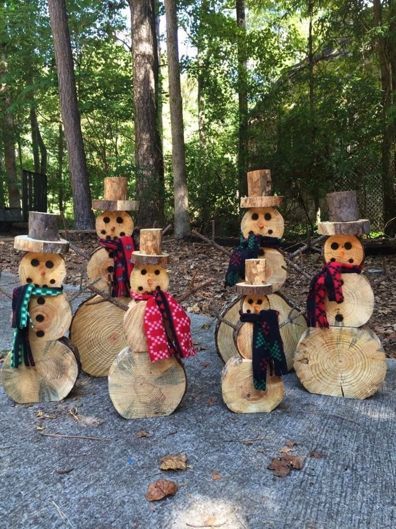slice snowman set Christmas decorationchristmasWood slice snowman set Christmas decorationchristmas Log Reindeer Family 1 each Small Medium and Large  Etsy Snowman Family...