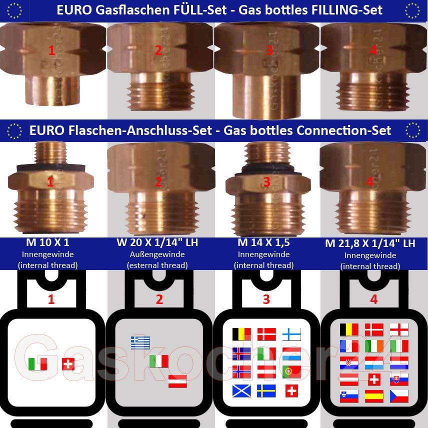 Good EURO FLASCHEN F LL SET Gasflaschen Anschluss Adapter bergangsstutzen Europa