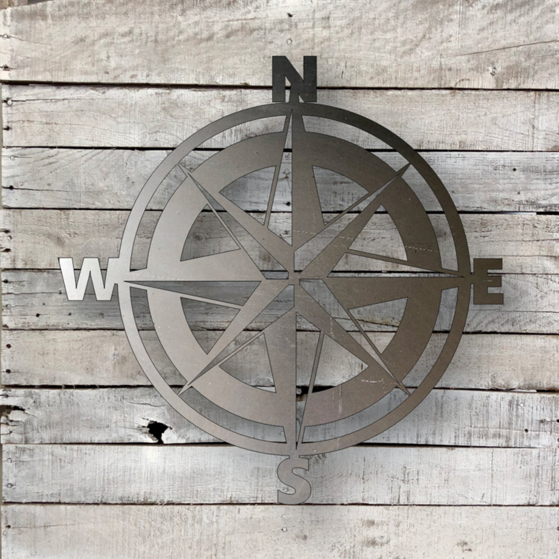 Steel Roots Compass Indoor Outdoor Steel Wall Art Compass Wall
